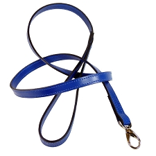 Italian Leather Classic Dog Leash by Hartman & Rose- Cobalt Blue