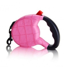 Haute Retractable Dog Leash- Pink Croc