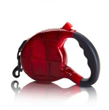 Haute Retractable Dog Leash- Red Croc