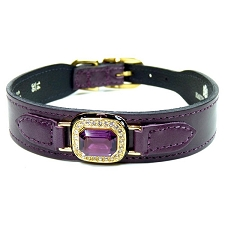 Haute Couture Swarovski Crystal Leather Dog Collar- Royal Purple