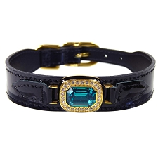 Haute Couture Swarovski Crystal Leather Dog Collar- Midnight Black