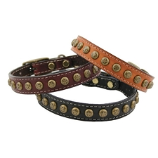 Heirloom Stars Leather Dog Collars - Three Colors