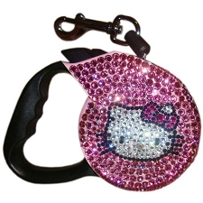 Hello Kitty Kat Swarovski Crystal Retractable Leash- Pink and Black