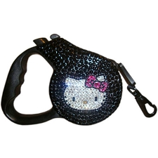 Hello Kitty Kat Swarovski Crystal Retractable Dog Leash - Caviar
