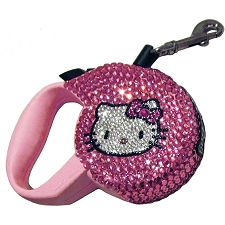 Hello Kitty Kat Swarovski Crystal Retractable Dog Leash - Pink