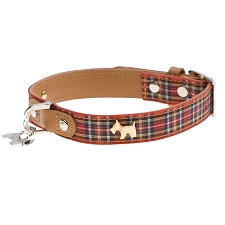 Highland Bling Scotty Leather Dog Collar - Red Tartan