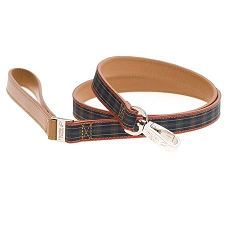 Highland Leather Dog Leash - Blue Tartan