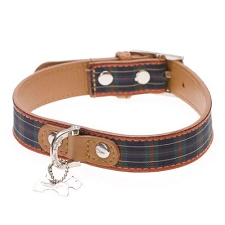 Highland Designer Leather Dog Collar - Blue Tartan