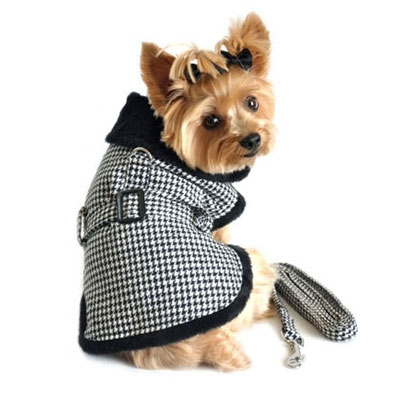 Houndstooth Dog Harness Coat At Glamourmutt Com