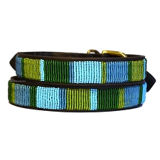 Handmade African Beaded Leather Dog Collar - Blue Lagoon
