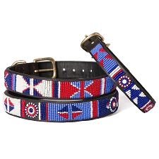 Handmade African Beaded Leather Dog Collar- Red White Blue