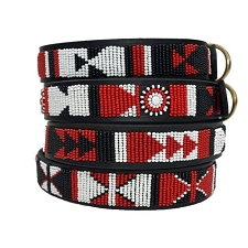 Handmade African Beaded Leather Dog Collar - Maasai Shield