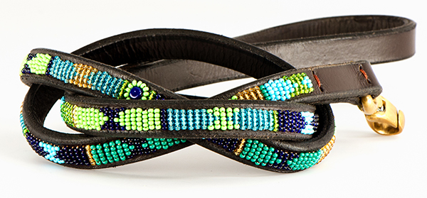 Peacock matching leash from kenyan collection