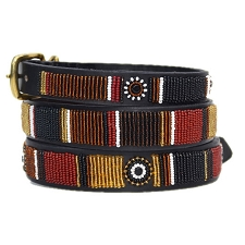 Handmade African Beaded Leather Dog Collar - Topi