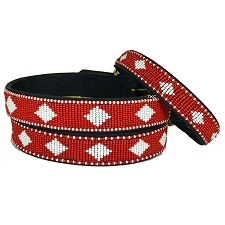 Handmade African Beaded Leather Dog Collar- Unity