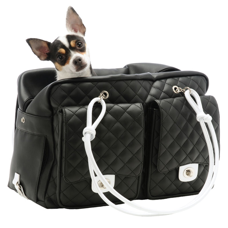 Kwigy Bo Alex Cambon Quilted Dog Carrier Black And White
