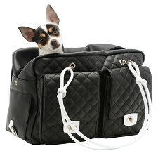 Alex Cambon Quilted Dog Carrier by Kwigy Bo - Black and White