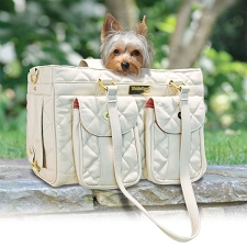 Le Petit Mon Ami Quilted Dog Carrier - Beige