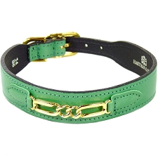 Central Park Leather Dog Collar - Kelly Green