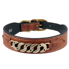 Chainlink Cork & Leather Dog Collar - Burnt Umber