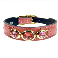 Regency Italian Leather Triple Swarovski Crystal Dog Collar - Petal Pink