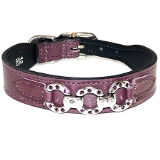 Rodeo Drive Italian Leather & Swarovski Crystal Dog Collar - Royal Purple
