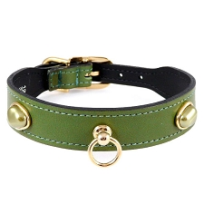 South Seas Italian Leather & Pearls Dog Collar - Lime Green