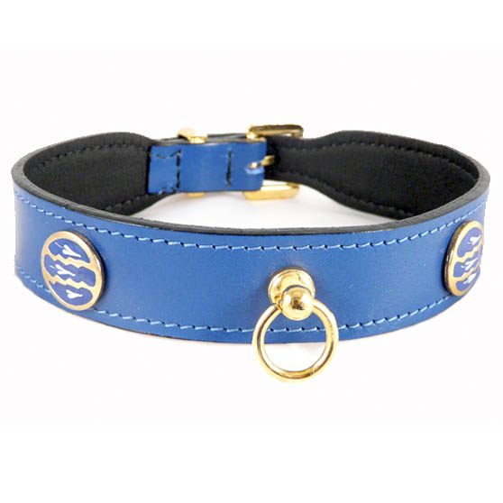 St Tropez Italian Leather Dog Collar Cobalt Blue Unique