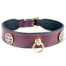 St. Tropez Italian Leather Dog Collar - Eggplant