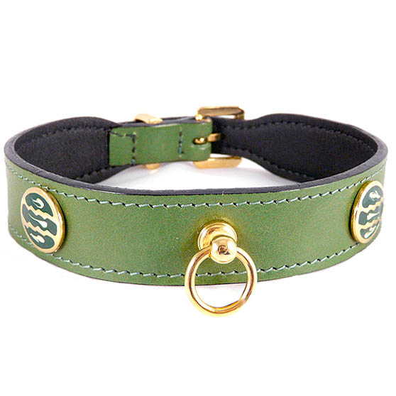 St Tropez Italian Leather Dog Collar Lime Green Unique