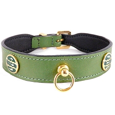 St. Tropez Italian Leather Dog Collar - Lime Green