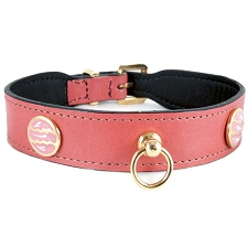 St. Tropez Italian Leather Dog Collar - Petal Pink