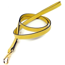Central Park Leather Dog Leash - Canary Yellow