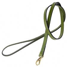 Italian Leather Classic Dog Leash by Hartman & Rose- Lime Green