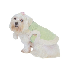 Suede Sherpa Dog Coat - Lime