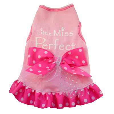 Little Miss Perfect Pink Dog Dress Designer Dog Clothes
