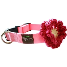 Crochet Flower Dog Collar - Lollipop