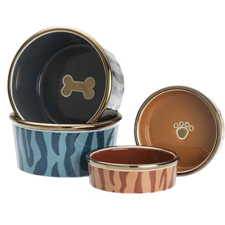 Luxe Tiger Dog Bowls