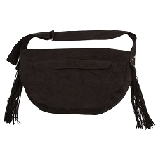 Luxe Suede Fringe Cuddle Dog Carrier- Black