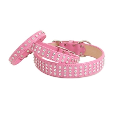 Madison Swarovski Crystal Leather Dog Collar - Peony Pink