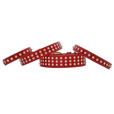 Madison Swarovski Crystal Leather Dog Collar - Red