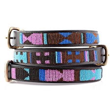 Handmade African Beaded Leather Dog Collar - Malindi