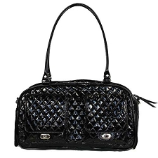 Marlee Quilted Dog Carrier- Shiny Black Patent
