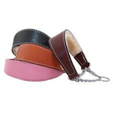 Martingale Leather Dog Collar with Shearling - Classic Colors