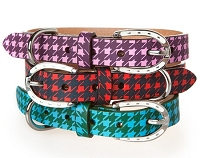 Leather Houndstooth Dog Collar