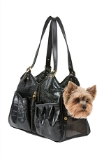 Metro Black Croco Carrier with Tassel