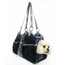 Metro Carrier with Tassel- Black and Silver