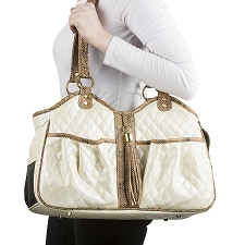 Metro Carrier with Tassel- Ivory and Snake