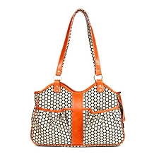 Metro Classic Italian Leather Dog Carrier by PETote - Noir Dots and Tangerine