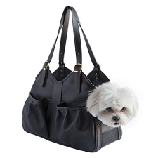 Metro Italian Leather Dog Carrier by PETote - Black